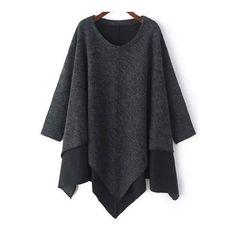SheIn(sheinside) Grey Round Neck Contrast Hem Asymmetrical Sweater (125 PLN) via Polyvore featuring tops, sweaters, grey, pullover sweater, grey pullover sweater, grey sweater, round neck sweater i vintage tops