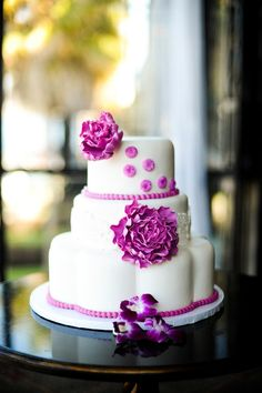 Vibrant Purple Flower & Pearls Wedding Cake