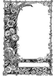VintageFeedsacks: Free Vintage Clip Art - Vintage Art Deco and Victorian Frames Antique Frames, Vintage Frames, Colouring Pages, Adult Coloring Pages, Papercut Art, Clip Art Vintage, Vintage Paper, Vintage Floral, Tarot