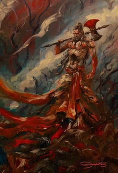 Parshuram by Abhishek Singh Shiva Art, Krishna Art, Hindu Art, The Mahabharata, Lord Vishnu Wallpapers, Shiva Wallpaper, Durga Goddess, Hindu Deities, Indian Gods