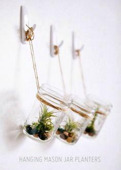 diy hanging succulent mason jar planter - wall decor, mason jar crafts