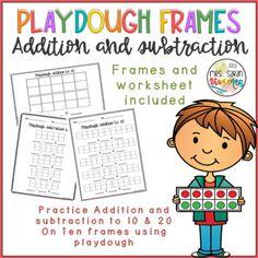Playdough Frames Addition and Subtraction to with worksheet First Grade Curriculum, First Grade Science, Number Sense Kindergarten, Kindergarten Math, Division Math Games, Math Graphic Organizers, Math Numbers, Ten Frames, Math Notebooks