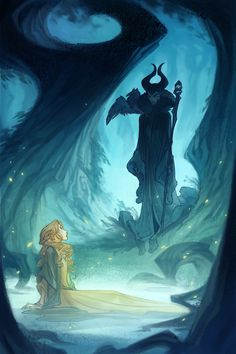 Thumbnail to finished illustration: Another interior from The Curse of Maleficent. You can order the book here :)