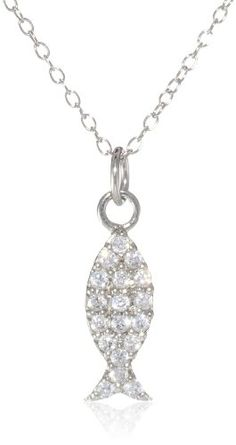 """Sterling Silver Cubic-Zirconia Fish Pendant Necklace, 18"""" coupon