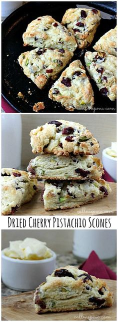 Dried Cherry Pistachio Scones.  I love this flavor combination!  These look delicious.  Perfect for Sunday brunch. #breakfast #recipes
