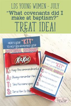 """LDS Young Women July Lesson Helps """"What Covenants did I make at baptism?"""" including handouts, treat idea, activity ideas, teaching tips, worksheets and more! www.LovePrayTeach.com"""