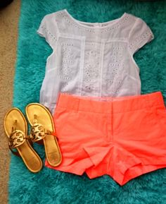 Gap top, jcrew shorts and Tory burch sandals. Instead of Tory Burch, jack Rogers would be cute