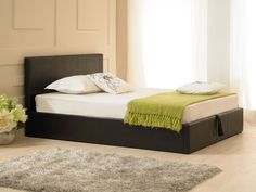 The Madrid Ottoman bed frame in a black faux leather is a fantastic design and would grace either a modern or traditional room setting. Ottoman Storage Bed, Ottoman Bed, Contemporary Interior Design, Contemporary Bedroom, Black Ottoman, Leather Ottoman, Bed Frame Sizes, Leather Bed Frame
