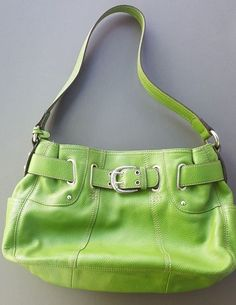 Tignanello Satchel Purse Green Pebbled Leather Perfect 10 Belted Hobo Pear #Tignanello #Hobo