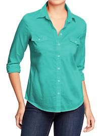 Silky green old navy flap pocket shirt