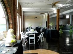 love this black, white and green wedding reception at The RiverRoom for Candice & Troy