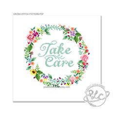 Take Care. Modern Floral Wreath Cross от plasticlittlecovers