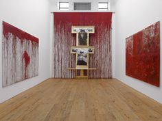 """Hermann Nitsch , """"Untitled"""" (2011), Acrylic on canvas and painting on vestment, 540 x 400 cm. Marc Straus Gallery courtesy of the gallery"""