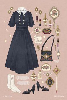 Vintage Fashion Sketches, Fashion Design Drawings, Cute Fashion, Fashion Art, Retro Fashion, Anime Outfits, Estilo Lolita, Manga Clothes, Mode Vintage