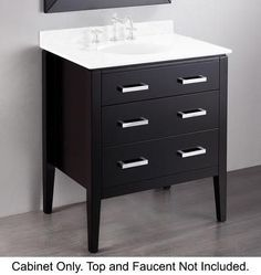"""SB-260BMC 30"""" Main Vanity Cabinet with Birch Solid Wood Construction Polished Chrome Hardware and 2 Drawers in Black"""