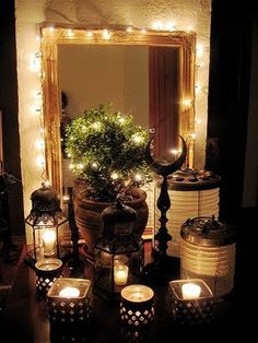 This is gorgeous! The light of the candles look amazing against the black/dark shades.