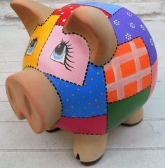 Resultado de imagen para alcancia chanchito de gato Baby Crafts, Diy And Crafts, Arts And Crafts, Pig Bank, Mexican Paintings, Paper Mache Animals, Pig Drawing, Cute Piggies, Pottery Painting