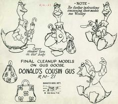 Model sheets for the gluttonous farmhand Gus Goose, from Disney's 1939 cartoon, Donald's Cousin Gus. Cartoon Sketches, Disney Sketches, Disney Drawings, Character Modeling, Character Drawing, Character Concept, Disney Concept Art, Disney Art, Walt Disney
