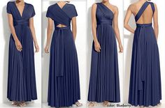The versatility and length of this dress would allow my bridesmaids to chose how to wear it. I wonder at the material, tho.