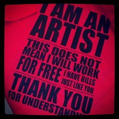 Custom ARTiST for HiRE Shirt - Painters / Sculptors / Dancers / Designers
