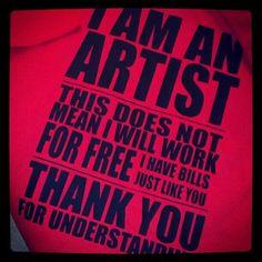 Custom ARTiST for HiRE Shirt - Painters / Sculptors / Dancers / Designers