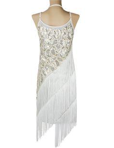 Amazon.com: KAYAMIYA Women's 1920S Sequin Paisley Pattern Tiered Tassel Gatsby Flapper Dress: Clothing