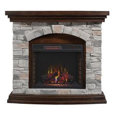 Duraflame 45-in W 5200-BTU Aged Coffee MDF Flat Wall Infrared Quartz Electric Fireplace Media Mantel with Thermostat and Remote