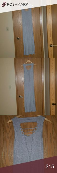 Grey maxi dress Grey t shirt material maxi dress with cut out/ braided back detail. Super comfy and cute! Charlotte Russe Dresses Maxi