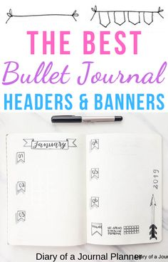 Get ideas and easy step-by-step guides to drawing banners and header in your bullet journal here! #bulletjournal #bujo #bulletjournaling #doodles #bulletjournaldoodles #banners