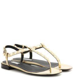 mytheresa.com - Giant studded metallic leather sandals - Luxury Fashion for Women / Designer clothing, shoes, bags