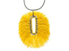 Yellow Cotton pendant ~ Julie Holmes Painted brass, waxed cotton, nylon thread