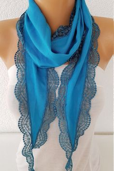 Lace Scarf, Cowl Scarf, Pashmina Scarf, Scarf Crochet, Only Fashion, Womens Fashion, Fall Scarves, Teal Blue, Womens Scarves