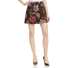 Alice and Olivia Loran Floral Skirt ($380) ❤ liked on Polyvore featuring skirts, print as mollie dress, alice olivia skirt, print skirt, white knee length skirt, petal skirt and floral skirt
