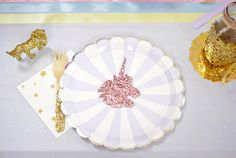 """Place setting from a Magical """"Magic is Four Real"""" Unicorn Birthday Party on Kara's Party Ideas   KarasPartyIdeas.com (38)"""