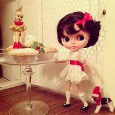 """""""Quick! Lets take a mince pie before anyone sees!"""" #kennerblythe #blythe #vintagedoll #handmade #christmas #mince-pie #dog #elf #felting # partydress #kawaii"""