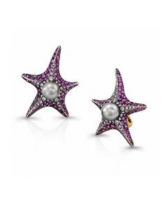 Pink Sapphire, Diamond and Pearl Starfish Clip-On Earrings