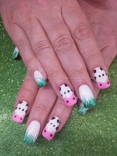Freehand cow nail art