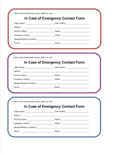 Printable Emergency Contact Form-  If you were in an accident  and unresponsive, this free printable Car Seat Emergency Form would allow emergency responders to know if your child had special needs, their name and who to contact quickly.
