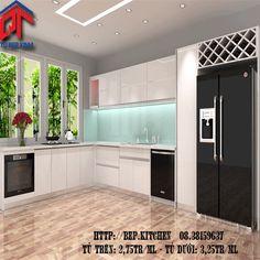 Mẫu tủ bếp gỗ đẹp - tủ bếp gỗ acrylic DF77
