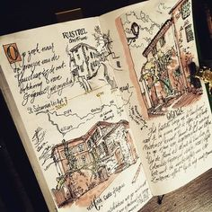 Weird, you live somewhere for 8 years and suddenly you discover a village nearby you never heard of Bullet Journal Art, Bullet Journal Ideas Pages, Bullet Journal Inspiration, Journal Pages, Sketch Journal, Drawing Journal, Travel Sketchbook, Arte Sketchbook, Kunstjournal Inspiration