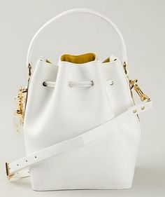 SOPHIE HULME drawstring bucket shoulder bag * Spring Summer 2015 * Secchiello Bianco Primavera Estate 2015