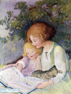 Mother reading to child Ribbon Cards, Four O Clock, Kids Reading, Woman Reading, Reading Books, Mother And Child, Mother Art, Vintage Children's Books, Digital Collage
