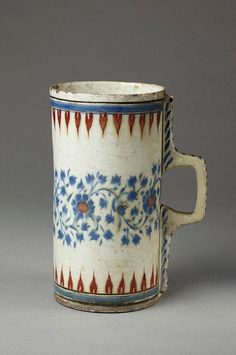 "wasbella102: ""Tankard, fritware with underglaze painting in blue and red, Turkey (Iznik), ca. 1570-80 """