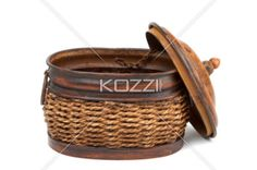 open basket - An opened basket with the lid chained to the basket