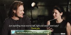 """Sam and Cait from Outlander // love the """"Guy Twinkle"""" from Sam"""