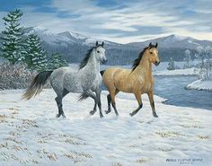 'Snowy Frolic' horses running in the show painting by Persis Clayton Weirs