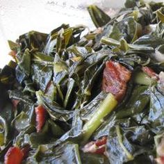 "Kickin' Collard Greens recipe: ""If you like greens you will love this recipe. The bacon and onions give them a wonderful flavor. Add more red pepper for a little more spice. Kickin Collard Greens Recipe, Collard Greens Recipe With Bacon, Country Greens Recipe, Italian Greens Recipe, Fried Greens Recipe, Instant Pot Collard Greens Recipe, Cooking Collard Greens, Sauteed Collard Greens, Vegetarian Meals"