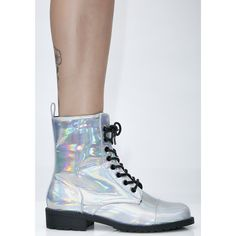 Hologram Combat Boots ($35) ❤ liked on Polyvore featuring shoes, boots, army boots, lace up boots, cap toe lace up boots, holographic boots and zip boots