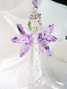 Crystal Suncatcher, Swarovski Crystal, Angel Sun Catcher, Purple Hanging Crystals, Prism Suncatcher by CrystalBlueDesigns on Etsy