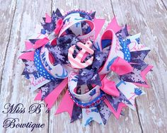 Navy Princess Over the Top hair Bow www.facebook.com/missbsbowtique05